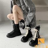 馬丁靴女英倫風時尚休閒瘦瘦靴粗跟短靴【慢客生活】