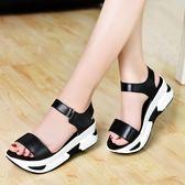 夏季新款韓版皮質厚底女涼鞋中跟時尚百搭氣質 DN7609【VIKI菈菈】