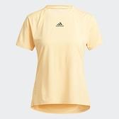 Adidas HEAT.RDY 女裝 短袖 T恤 訓練 乾爽 加長後襬 胸前小LOGO 橘黃【運動世界】H20743