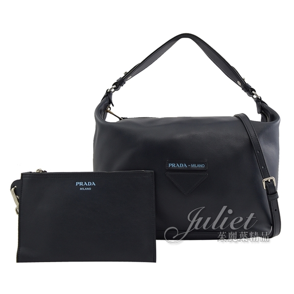 茱麗葉精品【全新現貨】PRADA 1BC065 壓印LOGO小牛皮肩斜兩用包.深藍