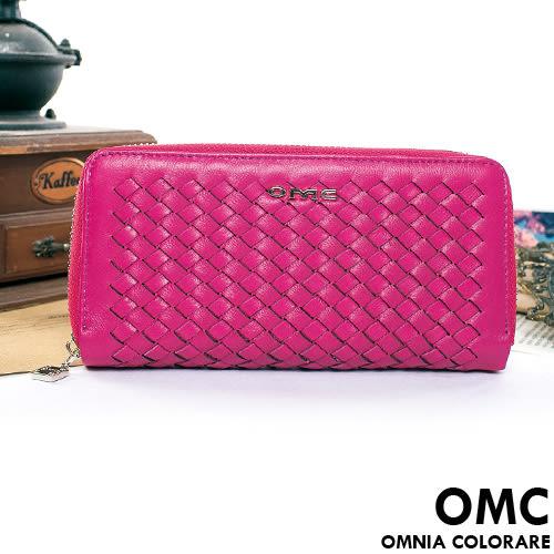 OMC - 專櫃立體編織真皮舌扣零錢包長夾-甜美桃