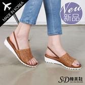 跟鞋 正韓製 草繩編織 輕量 舒壓 撞色 楔型涼鞋【F712918】三色 SD韓美鞋
