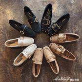 單鞋女春季韓版百搭 新款女鞋方頭平底樂福鞋鉚釘皮帶扣豆豆鞋  蜜拉貝爾