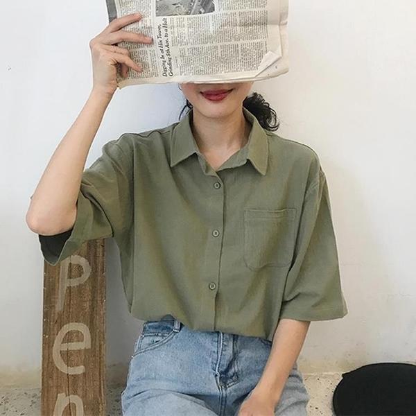 超火口袋短袖襯衫女夏韓版寬鬆百搭翻領純色襯衣上衣