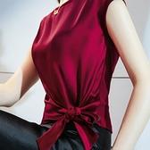 涼感衣 醋酸面料上衣緞面綁帶蝴蝶結短袖t恤女夏涼感絲滑包肩設計感紅色-Ballet朵朵