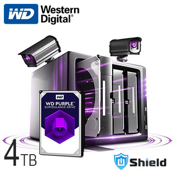 Shield神盾安控|限時特賣|全新附發票|WD紫標3.5吋4TB監控專用硬碟| WD40PURZ |公司貨3年保固|