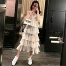 蛋糕裙洋裝 2020夏季新款韓版寬松顯瘦吊帶連衣裙女甜美遮肚子純色雪紡蛋糕裙