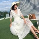 洋裝仙女裙S-XL蕾絲鏤空流蘇連身裙度假顯瘦修身超仙氣質裙T356-9003.胖胖唯依