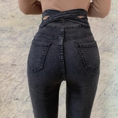 窄管褲 網紅牛仔褲女新款後背交叉高腰鉛筆褲排扣修身顯瘦韓版小腳褲長褲 快速出貨