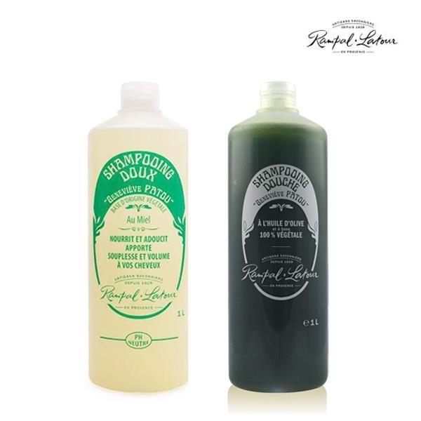 【南紡購物中心】【南法香頌】歐巴拉朵 忍冬蜂蜜洗髮精+特級橄欖油沐浴乳(1L/瓶)