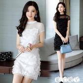 伴娘裙 訂結婚禮晚宴聚會女裝小禮服短裙夏季新款白黑色連身裙伴娘服 【全館9折】
