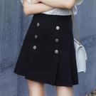 適合胯大腿粗的裙子黑色高腰防走光a字雙排扣百褶半身短裙春秋女