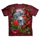 【摩達客】(預購)美國進口The Mountain  紅花灰鸚鵡 純棉環保短袖T恤(10416045055a)