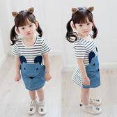 短袖洋裝 夏款韓版女童拼接老鼠牛仔短袖連衣裙 S57015