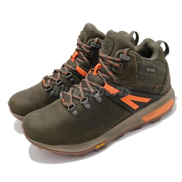 Merrell 戶外鞋 Zion Peak Mid Waterproof 綠 橘 男鞋 防水透氣 越野 中筒 運動鞋 【ACS】 ML035359
