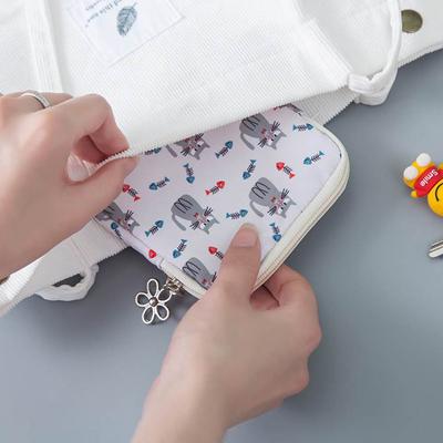 Qmishop 可愛衛生棉包收納包卡通零錢包拉鍊小花收納【J2097】