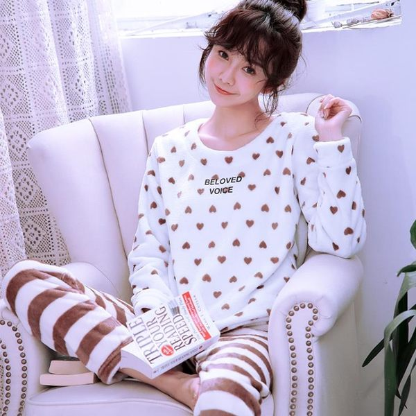 秋冬珊瑚絨睡衣女加厚長袖法蘭絨家居服套裝韓版甜美可愛兩件套【一條街】