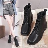 馬丁靴 2021新款秋冬單靴百搭機車靴短靴女方頭低跟系帶學生短筒馬丁靴女 歐歐
