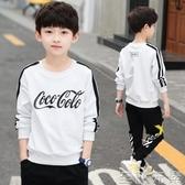男童t恤長袖春裝新款大童打底衫洋氣兒童秋衣單件上衣潮春秋 至簡元素