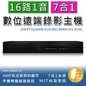 16路1音七合一4MP高畫質數位錄影主機手機監看多國語言不含硬碟(KMH-1628EU-N)