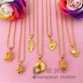 項鍊/仿真鎖骨鏈女葉子吊墜鍍金飾品「歐洲站」