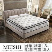 【全網最低價】美式 護邊強化三線蜂巢獨立筒床墊-單人3x6.2尺