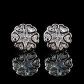 耳環 925純銀 鑲鑽-滿滿愛心生日聖誕節交換禮物女飾品2色73hz37【時尚巴黎】