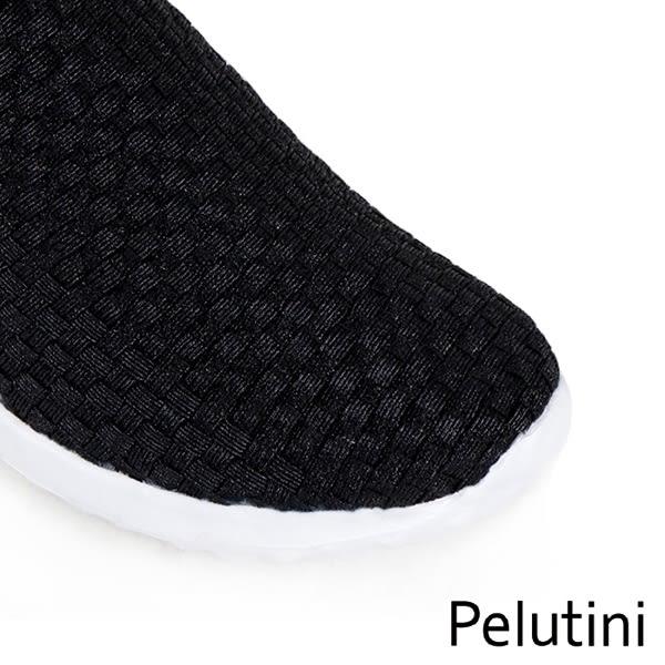 【Pelutini】時尚彈性編織休閒運動鞋  亮黑(8455-BL)