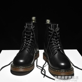 黑色馬丁靴男高幫機車中幫靴子男英倫風百韓版潮流皮靴男士工裝靴 名購新品
