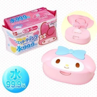 [霜兔小舖]日本製 美樂蒂 Melody濕紙巾 附盒