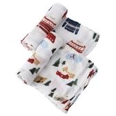 美國 Little Unicorn 竹纖維紗布巾2入組/包巾~聖誕快樂(精美禮盒裝)