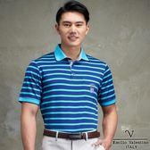 Emilio Valentino 高科技彈力抗皺休閒衫 藍/綠條紋