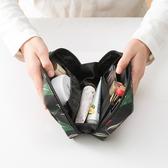 花草系列化妝方包 乳液 口紅 保養品 出國 旅行 洗漱 手提 行李 旅行 收納 米菈生活館【Z072】