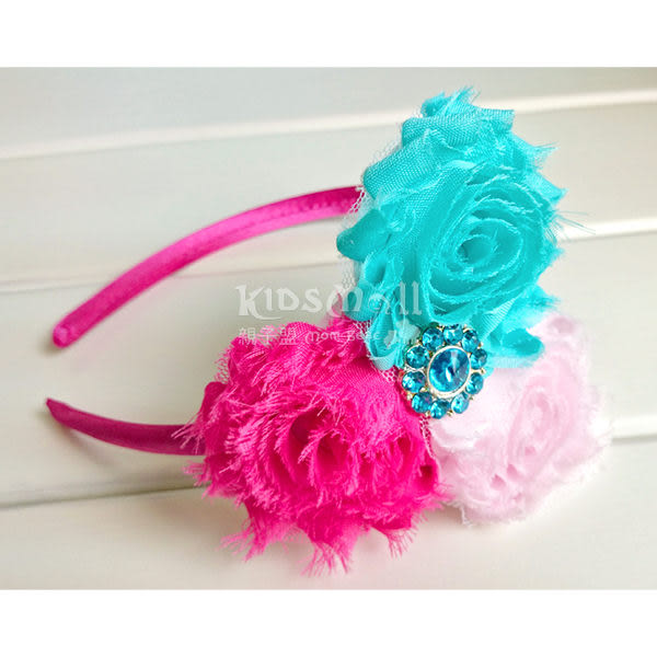 Cutie Bella 3 Shaby髮箍-Aqua/Pink/Fuchsia