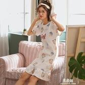 5173 夏季新款短袖睡裙女夏天學生寬鬆性感打底家居服 易家樂