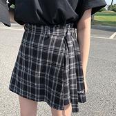 高腰顯瘦不規則格子短裙減齡A字半身裙女