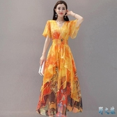 法式雪紡裙子夏2020新款長款沙灘裙氣質連身裙女神范顯瘦超仙長裙 FX8018