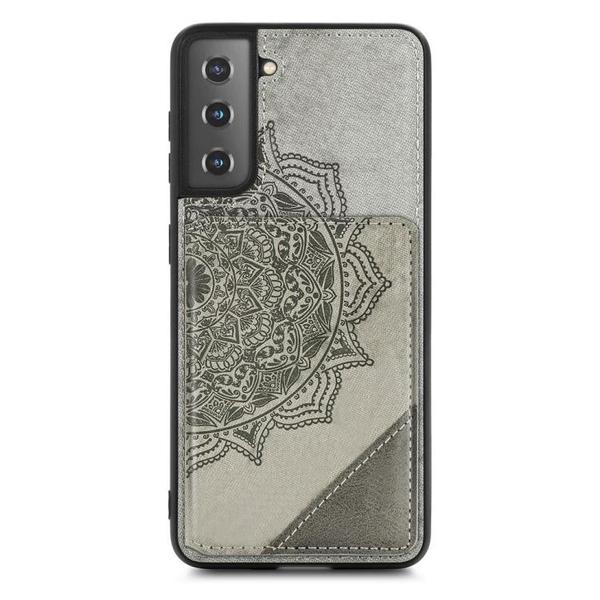 RFID防盜卡包手機殼 三星S21 布紋保護殼 超薄磁吸相框插卡零錢包支架背蓋防摔保護套 曼陀羅壓花
