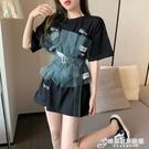 中長款T恤上衣女設計感小眾2021年新款夏季寬鬆假兩件短袖打底衫 時尚芭莎