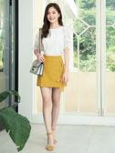 春裝上市[H2O]前面綁帶裝飾超顯瘦具挺度短褲裙 - 黃/黑/灰色 #9678004