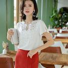 露肩上衣雪紡衫短袖寬鬆蕾絲上衣(三色M-2XL可選)/設計家 ZY3315