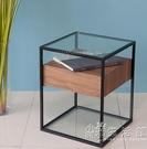 床頭櫃簡約現代臥室邊櫃儲物櫃北歐小型實木床頭收納櫃鋼化玻璃WD 小時光生活館
