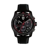 【Ferrari 法拉利】PRIMATO時尚三眼賽車競速真皮腕錶-全黑款/FA0830446/台灣總代理公司貨享兩年保固