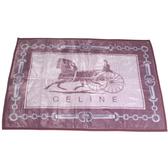 CELINE經典馬車鎖鏈LOGO保暖絨毛大蓋毯(棗紅色)084101-2