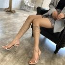 涼鞋女長款2020新款夏天翅膀性感細跟透明系帶羅馬交叉綁帶高跟鞋 夜店表演走秀鞋