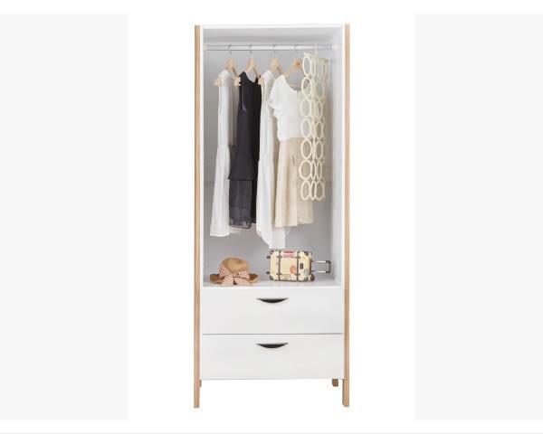 【YUDA】簡約 沃利 松木 實木 波麗漆 2.7尺 二抽 單吊 衣櫃/衣櫥 J8S 43-8
