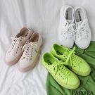 平底綁帶休閒鞋W-9119白/粉/綠PA...