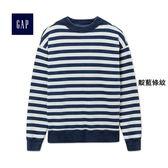 Gap男裝 休閒風格圓領長袖針織衫 225945-靛藍條紋
