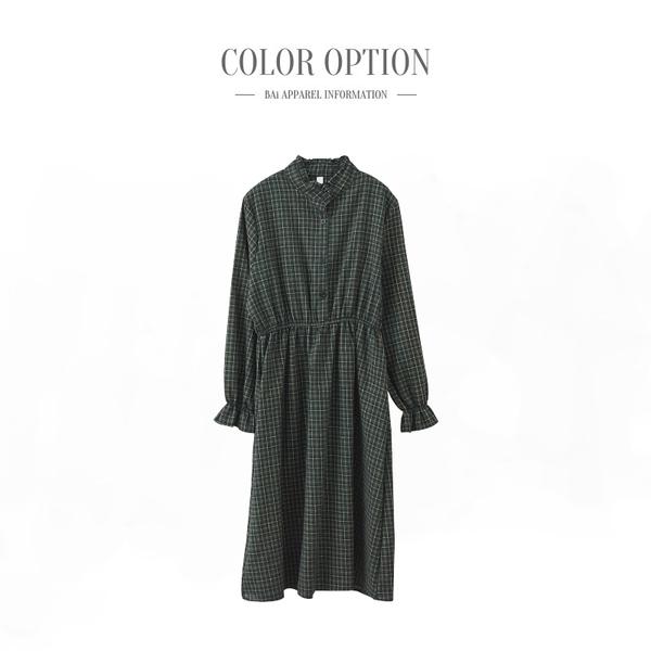 長洋裝 撞色藍綠格紋荷葉立領磨毛連身裙-BAi白媽媽【191106】