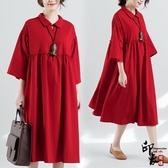 大尺碼洋裝復古文藝風大尺碼女棉麻七分袖連身裙長袍裙 降價兩天